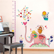 Wallpark Cartoon Elephant Happy Dancing Bear Height Sticker, Colourful Spraying Heart & Flowers, Growth Height Chart Measuring Removable Wall Decal, Children Kids Baby Home Room Nursery DIY Decorative Adhesive Art Wall Mural