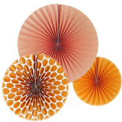 SUNBEAUTY Pack of 3 Orange Tissue Paper Fans Round Wheel Stripe Dot Design for Party Wedding Home Decor