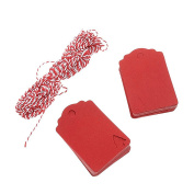 UEETEK 100pcs Kraft Paper Gift Tags Christmas Tree Tags Present Gift Labels with 10M Hemp Rope ,Red