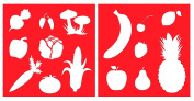 Auto Vynamics - STENCIL-FRUITVEGGIESET01-20 - Detailed Popular Fruits & Vegetables Stencil Set - Includes Peppers, Bananas, Apples, Corn, & More! - 50cm by 50cm Sheet - (2) Piece Kit - Pair of Sheets
