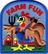 """FARM FUN"" - ANIMALS - CHICKENS - DUCKS - VEGETABLES - IRON ON EMBROIDERED PATCH"