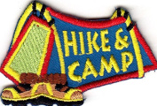 """HIKE & CAMP""- SPORTS - HIKING - OUTDOORS - IRON ON EMBROIDERED APPLIQUE"