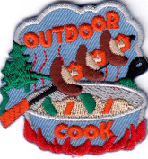 """""""OUTDOOR COOK"""" - FOOD - BARBECUE - CAMPING - COOKING - IRON ON EMBROIDRED PATCH"""