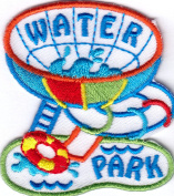 """WATER PARK"" PATCH - SWIMMING - GAMES - AMUSEMENT - IRON ON EMBROIDERED PATCH"