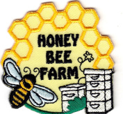"`""HONEY BEE FARM"" - Iron On Embroidered Applique Patch/Farm,, Honey Bees, Honey"