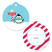 Holly Jolly Penguin - Christmas Party Favour Gift Tags - Set of 20