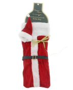 Christmas Holiday Red & White Velour Santa Wine Liquor Bottle Bag - 30cm x 15cm
