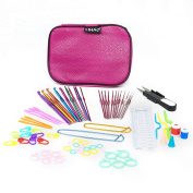 LIHAO 59 Piece Crochet Hooks Yarn Knitting Needles Stitch Markers Gauge Ruler Scissors Gift Set