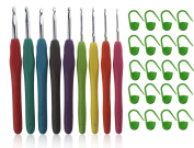 MDW 9 Pack Aluminium Crochet Hooks Needles with Silicon Cushion Handle & 20 Pcs Plastic Locking Stitch Markers