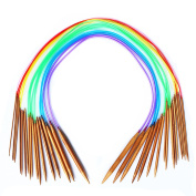 "Celine lin 18 sizes 40 inch""(100cm)Colourful Circular Carbonised Bamboo Knitting Needles"