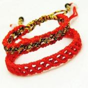 2 Pack Red Rope Line Bracelet Handmade Braided String Rotating Bracelet