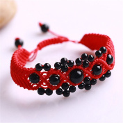 Red Rope Line Bracelet with Red Agate Beads Hand Chain Handmade Braided String Rotating Bracelet FP5001214