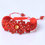 Original Chinese Ancient Style Red String Agate Bracelet ,Handmade Chinese zodiac charm bracelet Chicken FP5001207