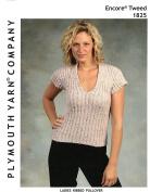 Plymouth Knitting Pattern 1825 - Ribbed V Neck T Shirt Women 90cm - 140cm