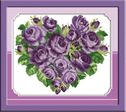 CaptainCrafts New Cross Stitch Kits Patterns Embroidery Kit - Rose Heart Purple