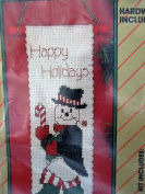Holiday Bell Pull Kit ... Happy Holiday Snowman ... Hardware Included ... Counted Cross Stitch