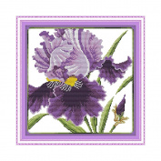 Anself Purple Flowers Pattern DIY Embroidery Kit Cross Stitch for Home Decor 36 36cm