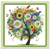 Anself Tree Pattern DIY Embroidery Kit Cross Stitch for Home Decor 38 38cm