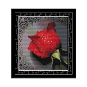 Anself Rose with Dew Pattern DIY Embroidery Kit Cross Stitch for Home Decor 26 27cm