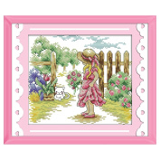 Anself Lovely Girl Pattern DIY Embroidery Kit Cross Stitch for Home Decor 33 27cm