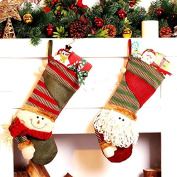 SYMWELL 2 PCS Decorative Snowman / Santa Claus Christmas Stocking Gift Bag Felt Applique Knit Christmas Stockings Christmas Gift Holder