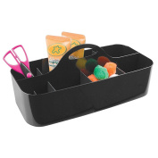 mDesign Art Supplies, Crafts, Crayons and Sewing Organiser Tote - Large, Black