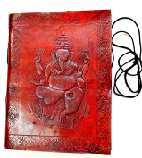 Yapree Handmade Paper Journal Diary with Leather Cover and Ganesh Design : 18cm X 13cm