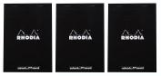 Pack of 3 Rhodia Top Staplebound Black Notepads dot - 20cm - 0.6cm . x 30cm - 1.3cm .