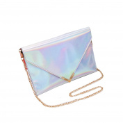 Mily Womens Holographic Laser Leather Envelope Clutch Handbag