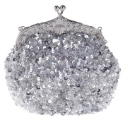 ilishop Women's Fully Sequined Mesh Beaded Antique Style Wedding Evening Formal Cocktail Clutch Purse