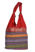 Indian Handmade Printed Shoppers Shoulder Drawstring Bag - Red
