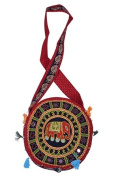 Traditional Elephant Designer front Round Bag - Red