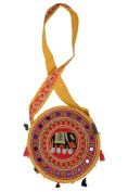 Traditional Elephant Designer front Round Bag - Yellow