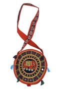 Traditional Elephant Designer front Round Bag - Orange