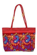 Unique Phulkari embroidered Rajasthani Bag - Red