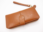 Yixiangqin 2016 Women Famous Brand Oil Wax Leather Zipper Clutch Wallet,Female Candy Colour Burglar Robbed Purse,Lady Multi-function Phone Wallet card Holder