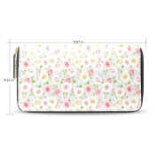LEEZONE Femal Micro Fibre Leather Wallet DIY with Romantic Flowers Printing Purse