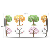 LEEZONE Femal Micro Fibre Leather Wallet DIY with Seasons Trees Printing Purse