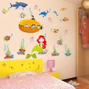 Wallpark Cartoon Underwater World Sea Fish Dolphin Mermaid Removable Wall Sticker Decal, Children Kids Baby Home Room Nursery DIY Decorative Adhesive Art Wall Mural