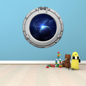 90cm Porthole Outer Space Ship Window View PLANET SUNRISE #1 CHROME Wall Sticker Kids Decal Baby Room Home Art Décor Den Mural Man Cave Graphic LARGE