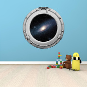 90cm Porthole Outer Space Ship Window View MILKY WAY SPIRAL GALAXY #1 CHROME Wall Sticker Kids Decal Baby Room Home Art Décor Den Mural Man Cave Graphic LARGE