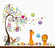 Yeme XL Paradise Zoo Giraffe Monkey Tree Wall decals, wall stickers, easy peel and stick memory zoo