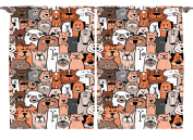 Ambesonne Boys Girls Toddlers Room Decor Collection, Pattern of Cats and Dogs Doodle Art Cartoon Style Retro Design, Window Treatments for Kids Bedroom Curtain 2 Panels Set, 270cm X 160cm , Brown Grey