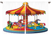 Ambesonne Kids Nursery Playroom Decor Collection, Cartoon Carousel Horses Merry Go Round Amusement Park Roundabout Image, Window Treatments for Kids Bedroom Curtain 2 Panels Set, 270cm X 210cm Red