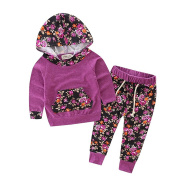 Baby Girls Floral Fleece Hoodie+ Floral Pant Set Leggings 2 Piece Outfits