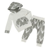 Puseky Newborn Baby Boy Girl Reindeer Hooded Shirt And Pants Clothes Outfits Set