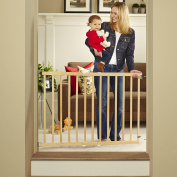 Tall Stairway Swing Gate 70cm - 110cm , Top of Stairs Baby Gate, Includes Mounting Kit, Natural Wood