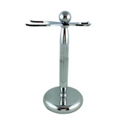 RazoRock Lined Chrome Razor And Brush Stand - #5 Fatboy