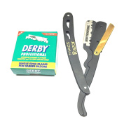 BLACK & GOLD COMBINATION Stainless Steel Barber Straight Edge Razor with Hi-Chromium Derby 100 Count Blades Made of Platinum Stainless Steel Easy To Replace-Macs-045B1