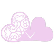 Laser Expressions Double Heart Filigree Die Cut Card Standard Paper - Lavender